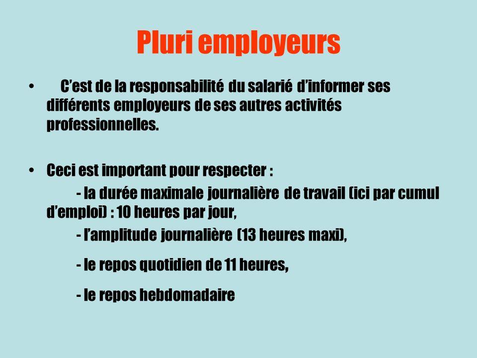 Pluri employeurs Cest de la responsabilité du salarié dinformer ses différents employeurs de ses autres activités professionnelles. Ceci est important