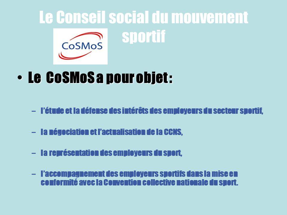 Le Conseil social du mouvement sportif Le CoSMoS a pour objet :Le CoSMoS a pour objet : –létude et la défense des intérêts des employeurs du secteur s