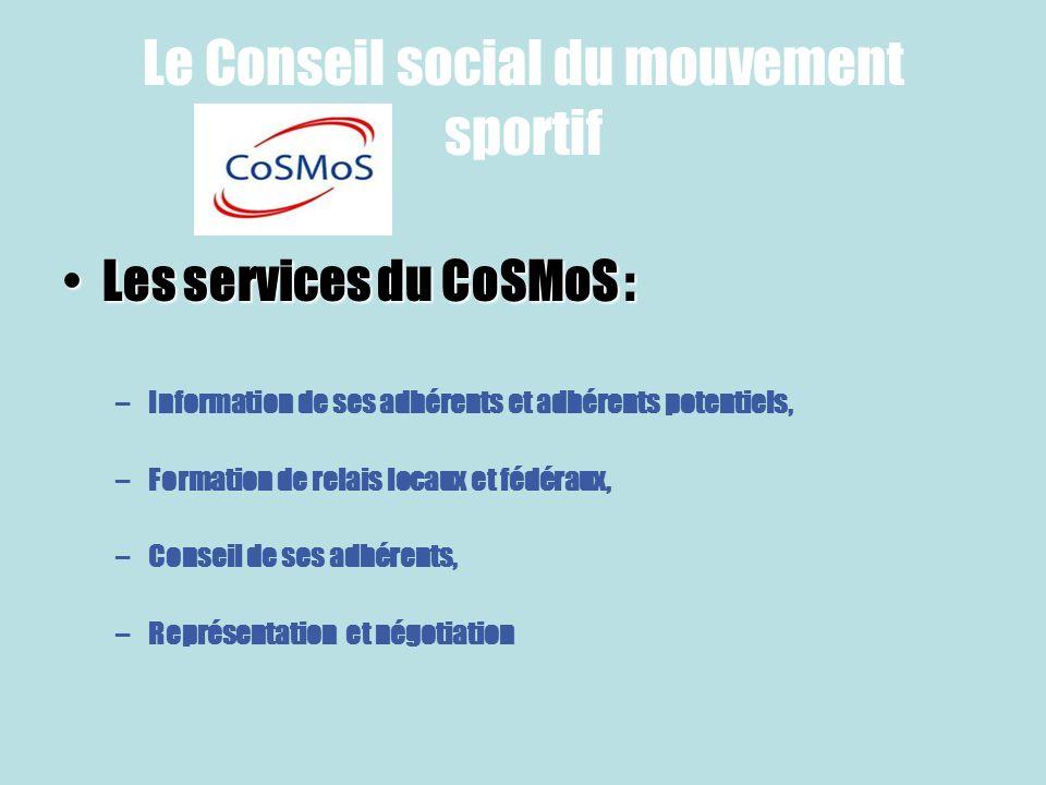 Le Conseil social du mouvement sportif Les services du CoSMoS :Les services du CoSMoS : –Information de ses adhérents et adhérents potentiels, –Format