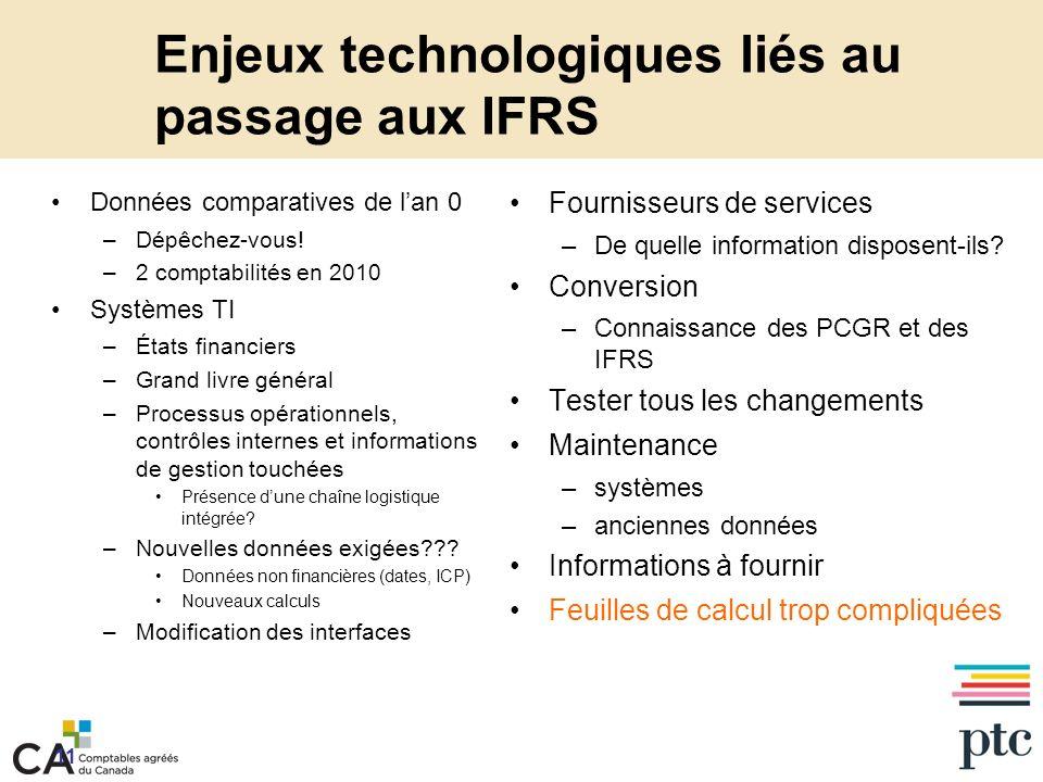 Enjeux technologiques liés au passage aux IFRS Données comparatives de lan 0 –Dépêchez-vous.