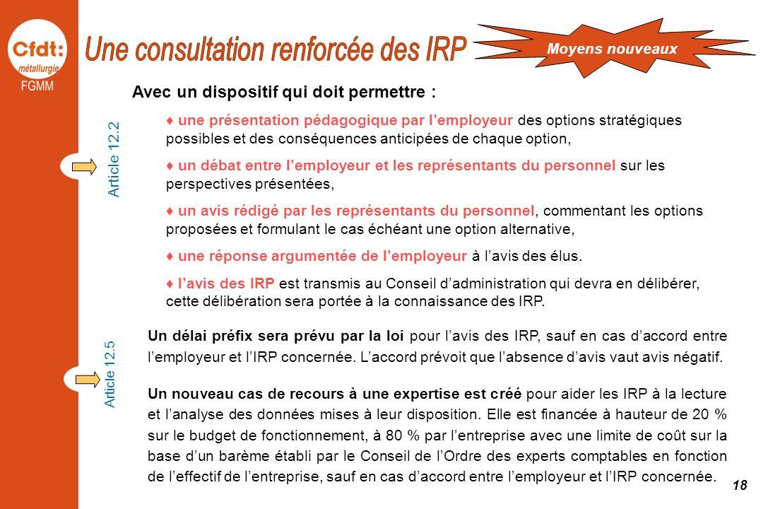 Un délai préfix sera prévu par la loi pour lavis des IRP, sauf en cas daccord entre lemployeur et lIRP concernée. Laccord prévoit que labsence davis v