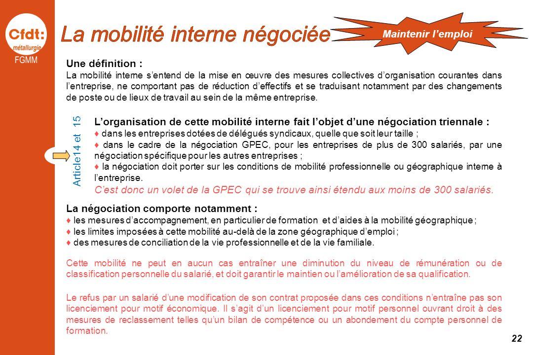 Une définition : La mobilité interne sentend de la mise en œuvre des mesures collectives dorganisation courantes dans lentreprise, ne comportant pas d
