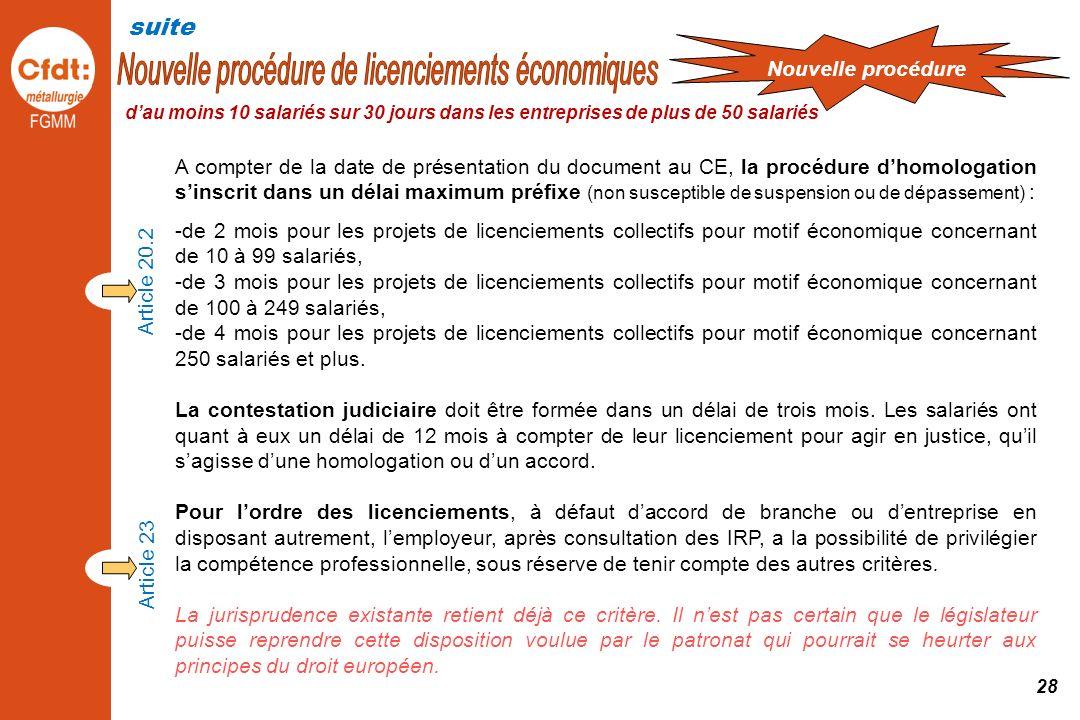 Article 20.2 28 Nouvelle procédure dau moins 10 salariés sur 30 jours dans les entreprises de plus de 50 salariés suite A compter de la date de présen