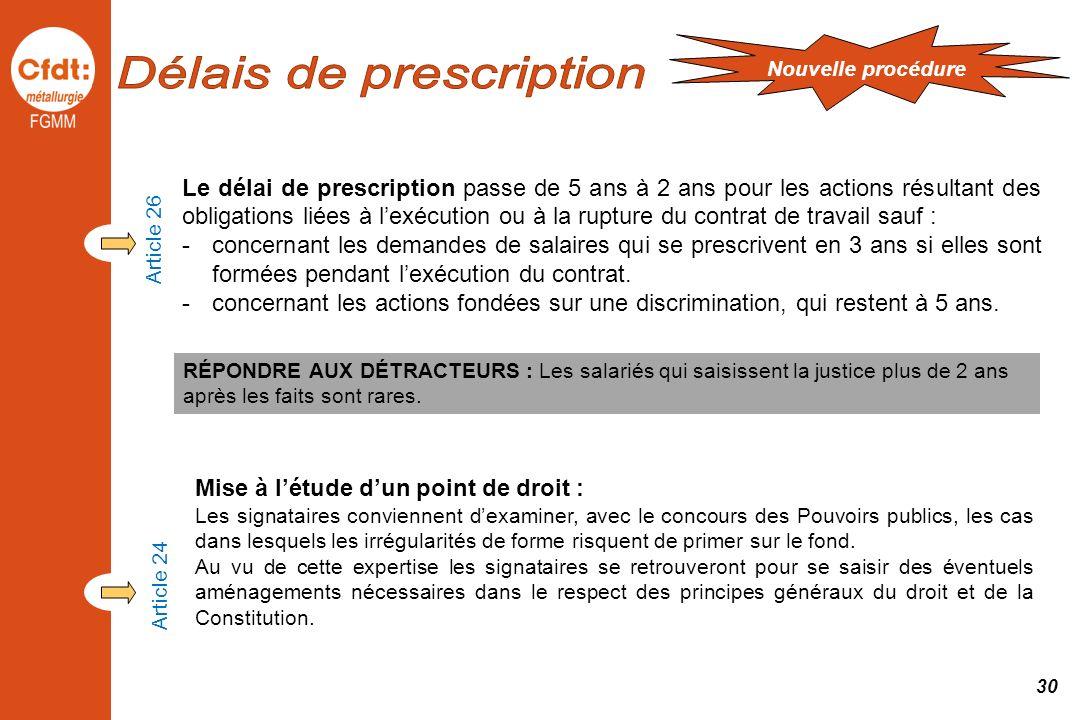 Article 26 Le délai de prescription passe de 5 ans à 2 ans pour les actions résultant des obligations liées à lexécution ou à la rupture du contrat de