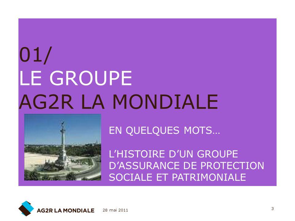 28 mai 2011 3 01/ LE GROUPE AG2R LA MONDIALE EN QUELQUES MOTS… LHISTOIRE DUN GROUPE DASSURANCE DE PROTECTION SOCIALE ET PATRIMONIALE