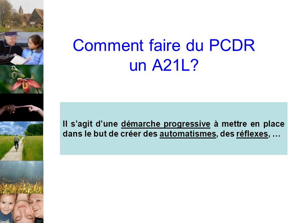 Comment faire du PCDR un A21L? Il sagit dune démarche progressive à mettre en place dans le but de créer des automatismes, des réflexes, …