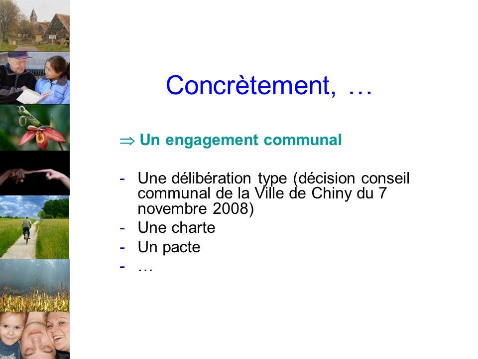 Concrètement, … Un engagement communal -Une délibération type (décision conseil communal de la Ville de Chiny du 7 novembre 2008) -Une charte -Un pact
