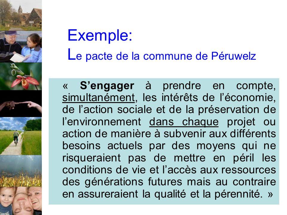 Exemple: L e pacte de la commune de Péruwelz « Sengager à prendre en compte, simultanément, les intérêts de léconomie, de laction sociale et de la pré