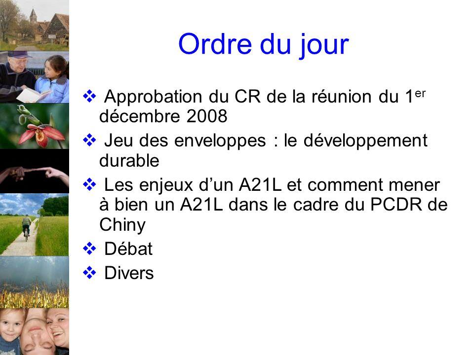 Ordre du jour Approbation du CR de la réunion du 1 er décembre 2008 Jeu des enveloppes : le développement durable Les enjeux dun A21L et comment mener à bien un A21L dans le cadre du PCDR de Chiny Débat Divers