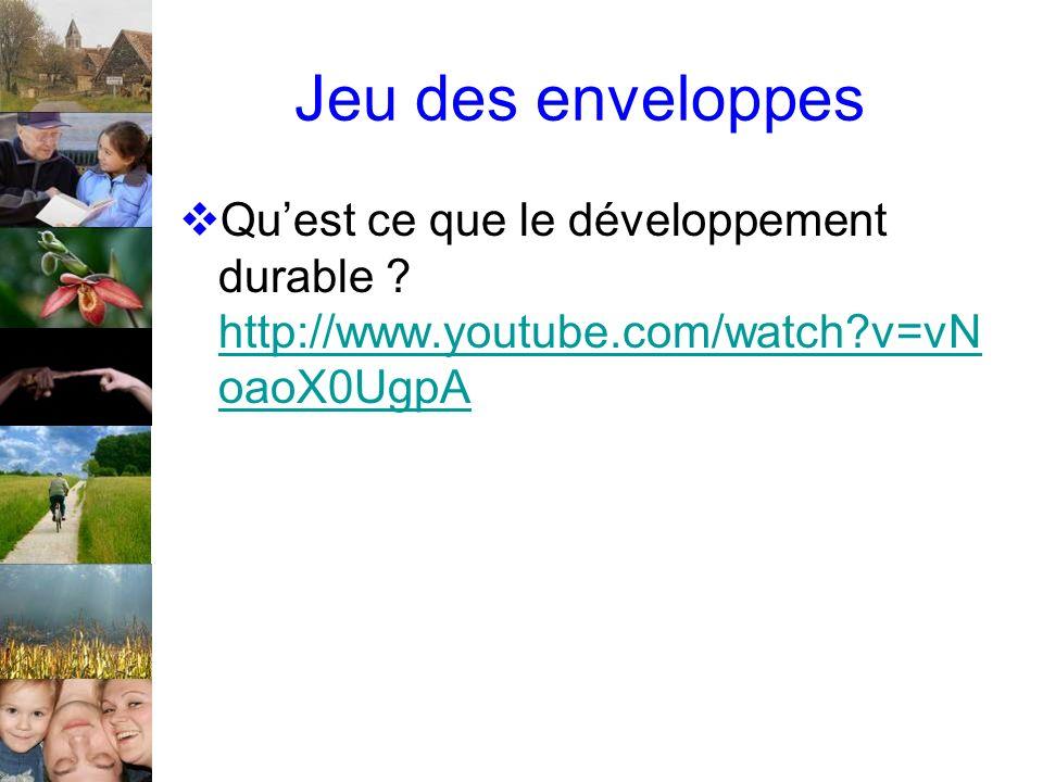 Jeu des enveloppes Quest ce que le développement durable ? http://www.youtube.com/watch?v=vN oaoX0UgpA http://www.youtube.com/watch?v=vN oaoX0UgpA