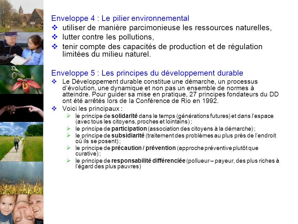 Enveloppe 4 : Le pilier environnemental utiliser de manière parcimonieuse les ressources naturelles, lutter contre les pollutions, tenir compte des capacités de production et de régulation limitées du milieu naturel.