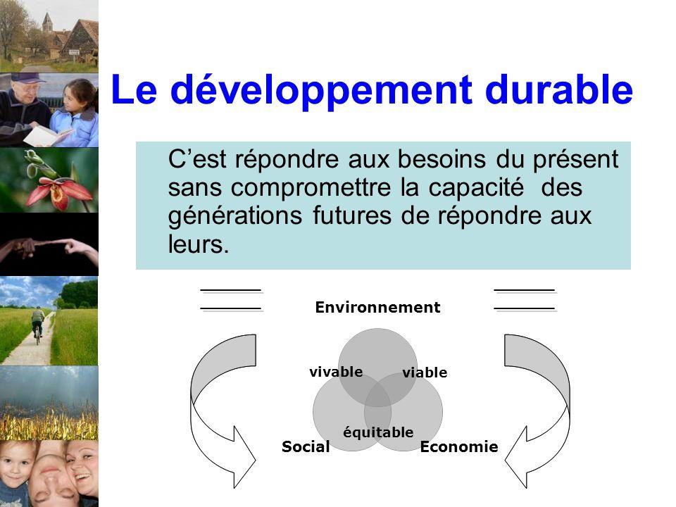 Cest répondre aux besoins du présent sans compromettre la capacité des générations futures de répondre aux leurs. Le développement durable Environneme
