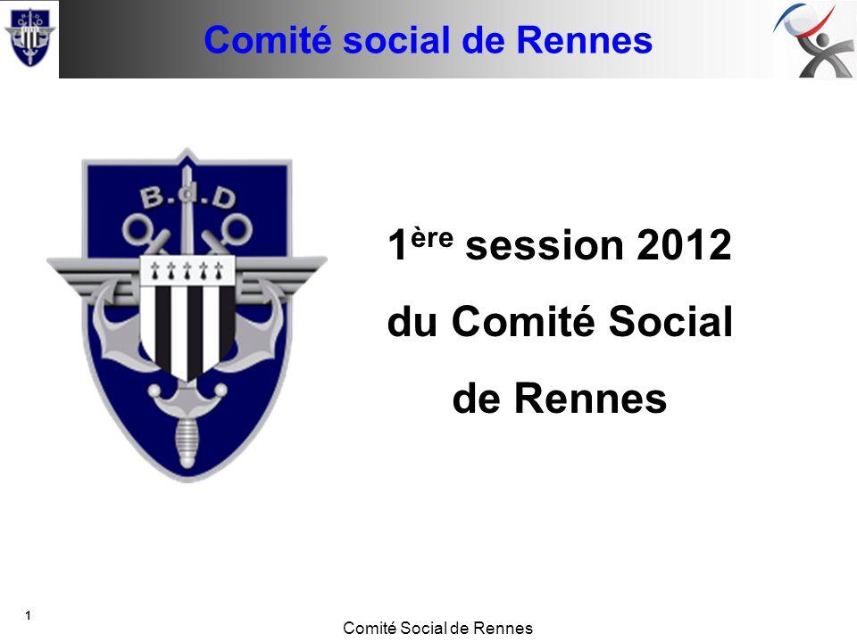 Conseil de base Comité Social de Rennes 1 14 juin 2011 1 ère session 2012 du Comité Social de Rennes Comité social de Rennes