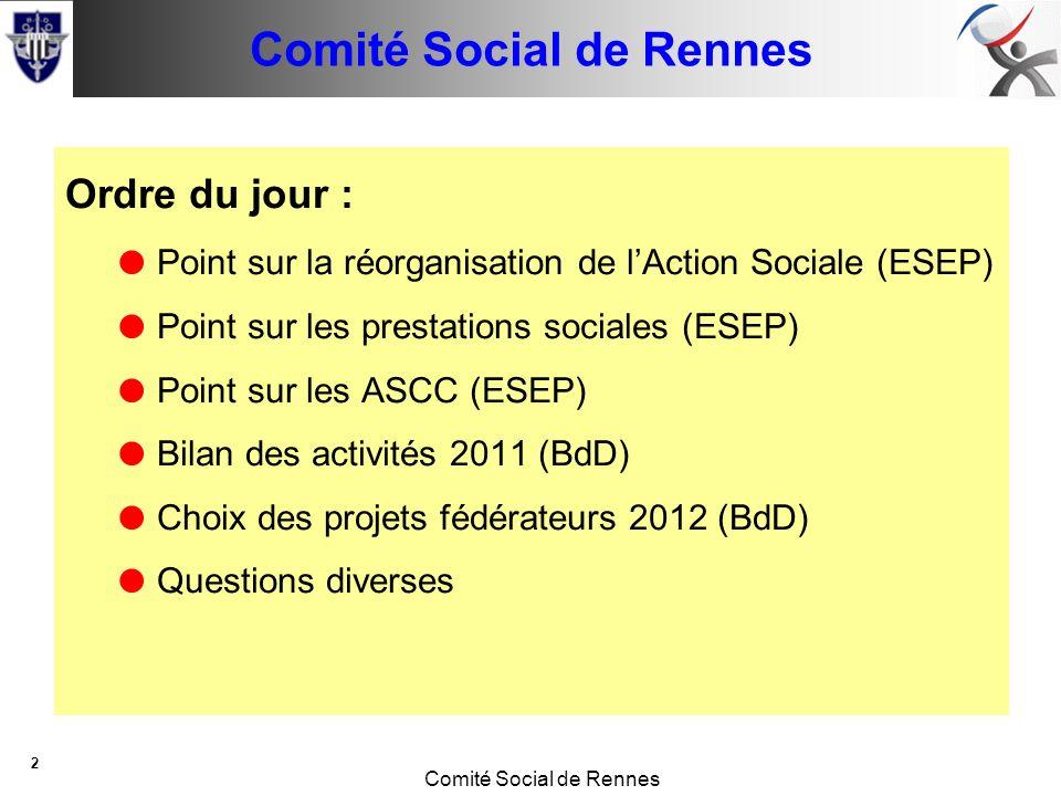 Conseil de base Comité Social de Rennes 2 Ordre du jour : Point sur la réorganisation de lAction Sociale (ESEP) Point sur les prestations sociales (ESEP) Point sur les ASCC (ESEP) Bilan des activités 2011 (BdD) Choix des projets fédérateurs 2012 (BdD) Questions diverses