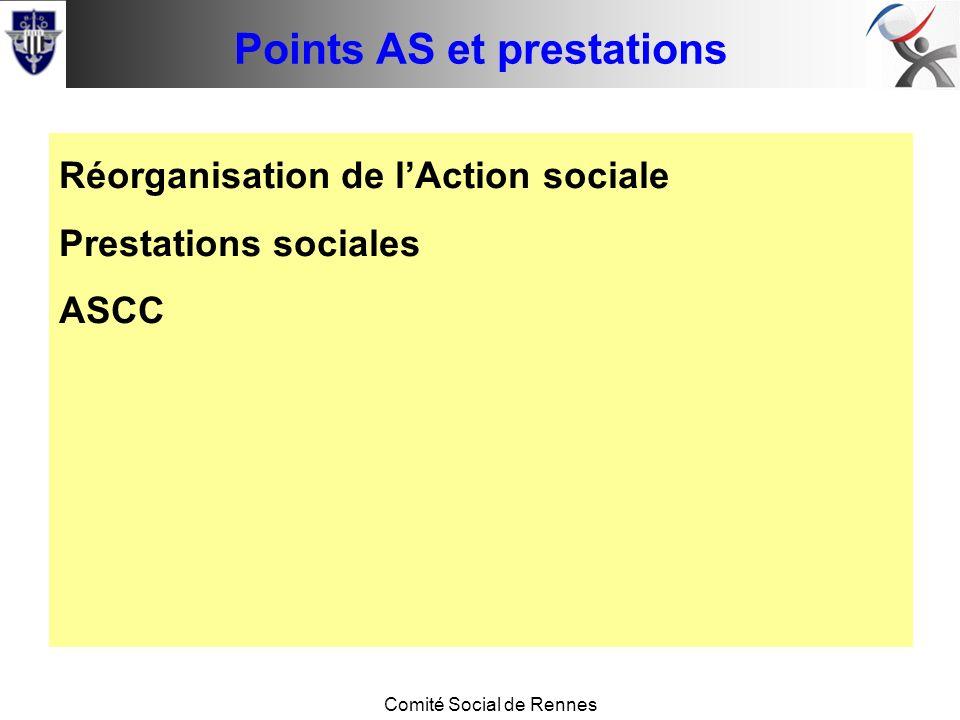 Conseil de base Comité Social de Rennes Points AS et prestations Réorganisation de lAction sociale Prestations sociales ASCC