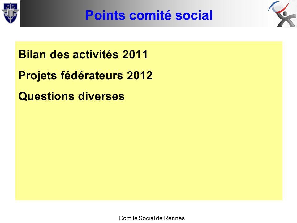 Conseil de base Comité Social de Rennes Points comité social Bilan des activités 2011 Projets fédérateurs 2012 Questions diverses