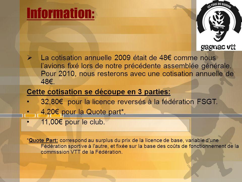 Information: La cotisation annuelle 2009 était de 48 comme nous lavions fixé lors de notre précédente assemblée générale. Pour 2010, nous resterons av