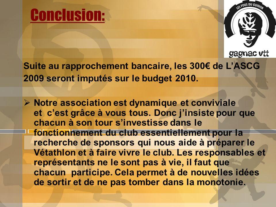 Conclusion: Suite au rapprochement bancaire, les 300 de LASCG 2009 seront imputés sur le budget 2010. Notre association est dynamique et conviviale et