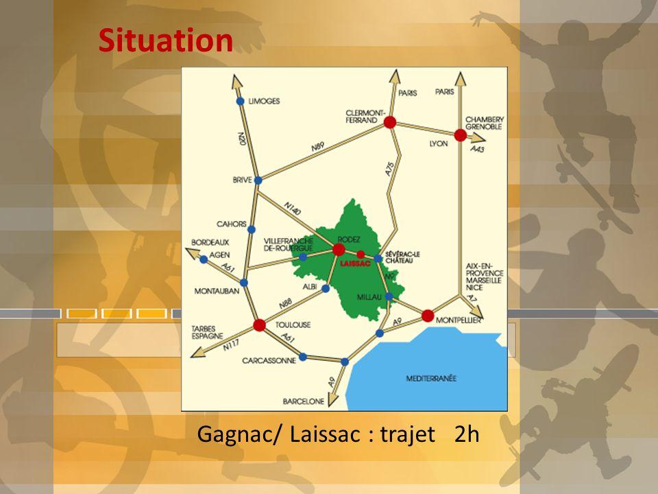 Situation Gagnac/ Laissac : trajet 2h