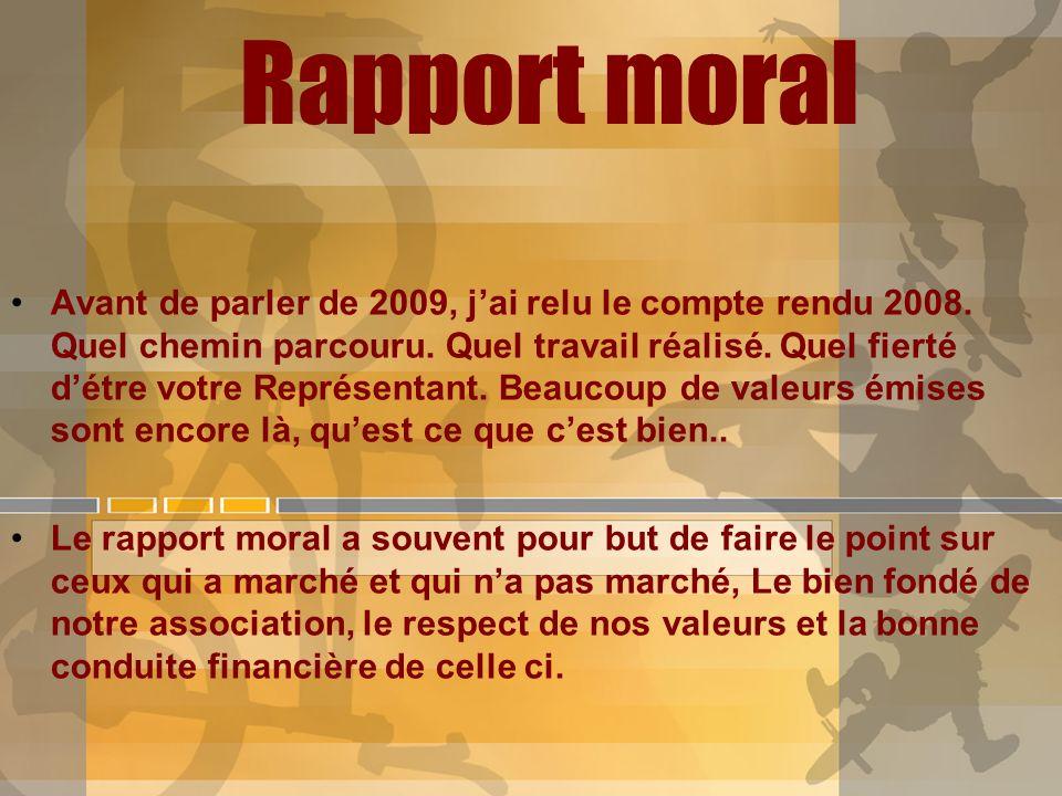 Rapport moral Avant de parler de 2009, jai relu le compte rendu 2008. Quel chemin parcouru. Quel travail réalisé. Quel fierté détre votre Représentant