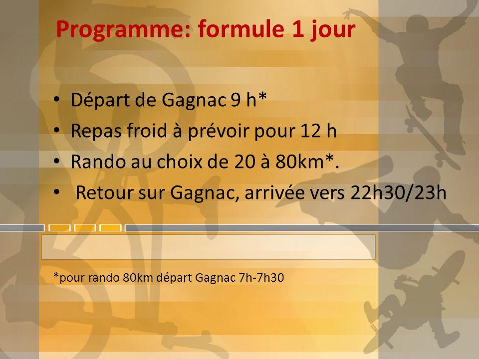 Programme: formule 1 jour Départ de Gagnac 9 h* Repas froid à prévoir pour 12 h Rando au choix de 20 à 80km*. Retour sur Gagnac, arrivée vers 22h30/23