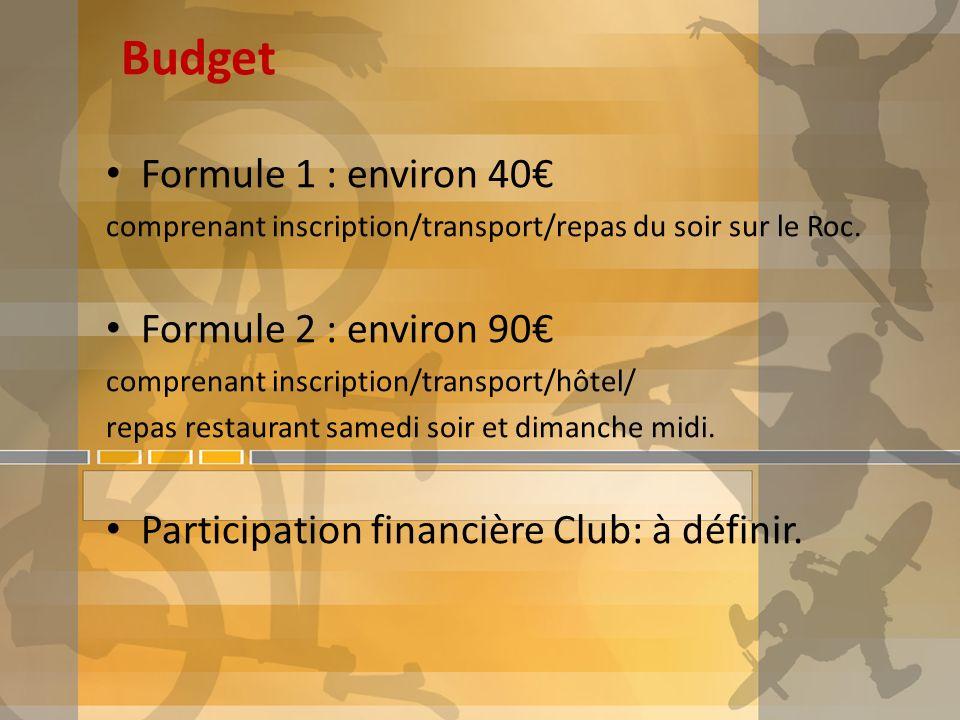 Budget Formule 1 : environ 40 comprenant inscription/transport/repas du soir sur le Roc. Formule 2 : environ 90 comprenant inscription/transport/hôtel
