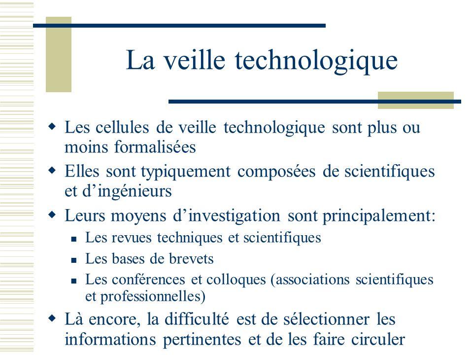 La veille technologique Les cellules de veille technologique sont plus ou moins formalisées Elles sont typiquement composées de scientifiques et dingé