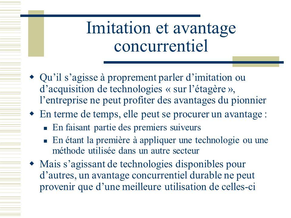 Imitation et avantage concurrentiel Quil sagisse à proprement parler dimitation ou dacquisition de technologies « sur létagère », lentreprise ne peut