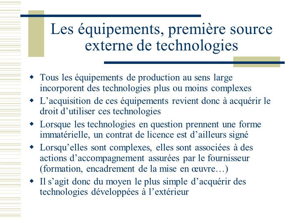 Les équipements, première source externe de technologies Tous les équipements de production au sens large incorporent des technologies plus ou moins c