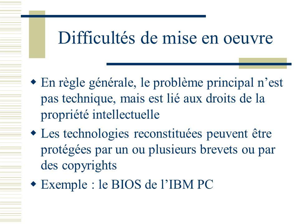 Difficultés de mise en oeuvre En règle générale, le problème principal nest pas technique, mais est lié aux droits de la propriété intellectuelle Les