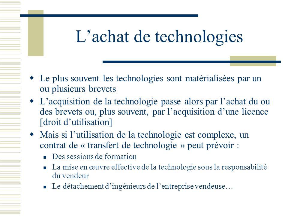 Lachat de technologies Le plus souvent les technologies sont matérialisées par un ou plusieurs brevets Lacquisition de la technologie passe alors par