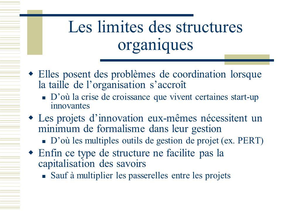 Les limites des structures organiques Elles posent des problèmes de coordination lorsque la taille de lorganisation saccroît Doù la crise de croissanc