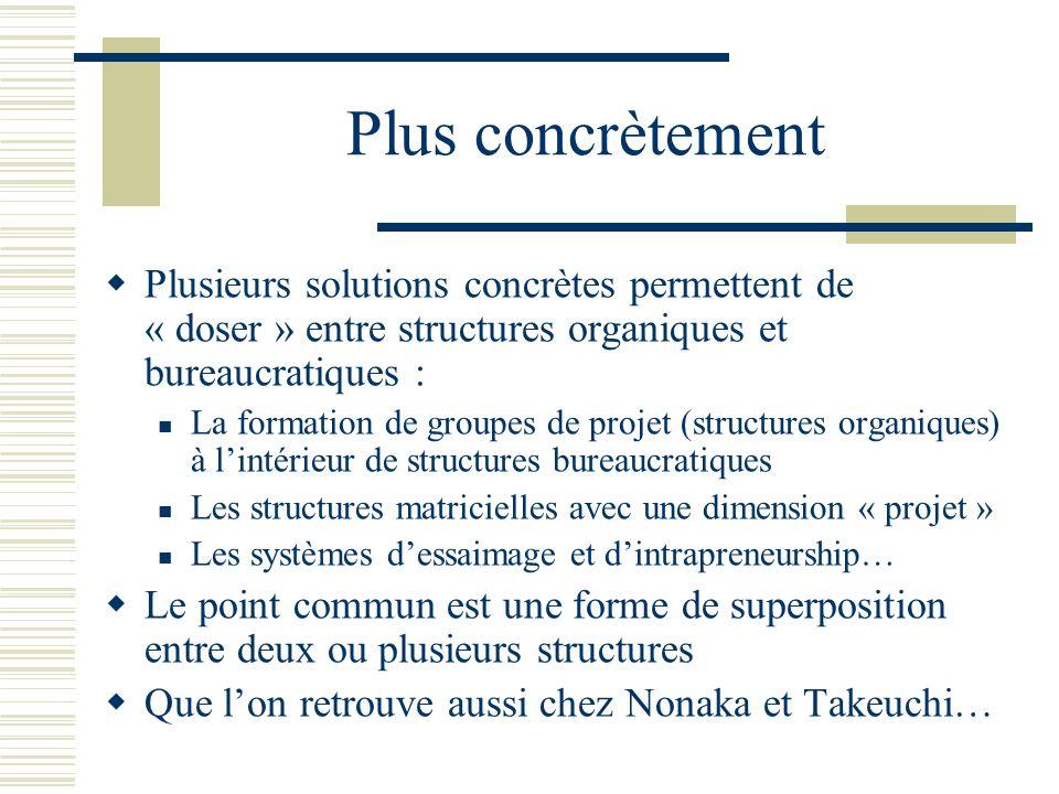 Plus concrètement Plusieurs solutions concrètes permettent de « doser » entre structures organiques et bureaucratiques : La formation de groupes de pr