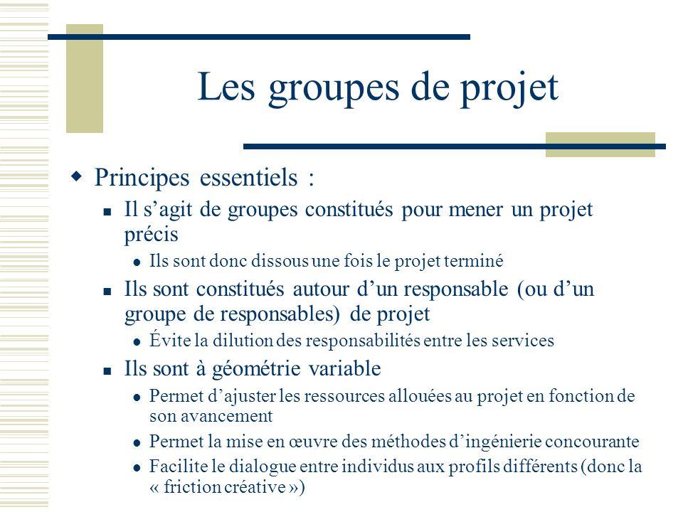 Les groupes de projet Principes essentiels : Il sagit de groupes constitués pour mener un projet précis Ils sont donc dissous une fois le projet termi