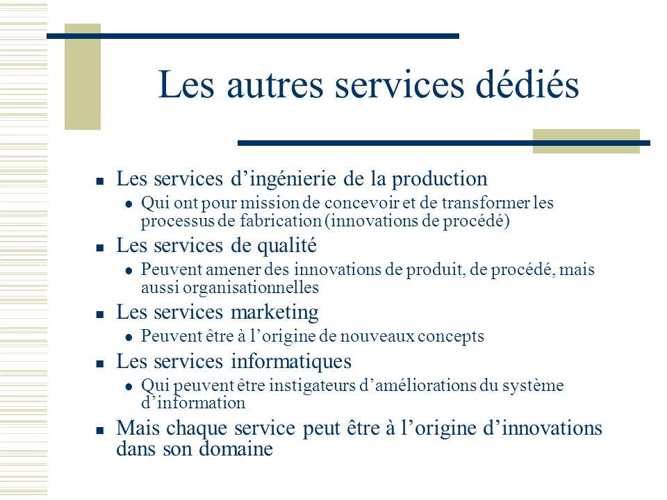 Les autres services dédiés Les services dingénierie de la production Qui ont pour mission de concevoir et de transformer les processus de fabrication