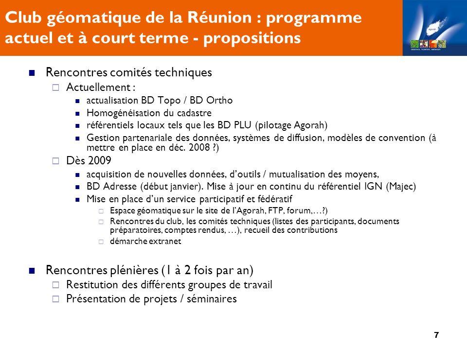 8 Club géomatique de la Réunion : A lordre du jour 09h20 – 10h00 Référentiel IGN 2009 # 10h00 – 10h15 Pause # 10h15 – 10h55 Référentiel Litto3D 10h55 – 11h20 : Cadastre numérisé 11h20 – 11h45 : numérisation des POS/PLU