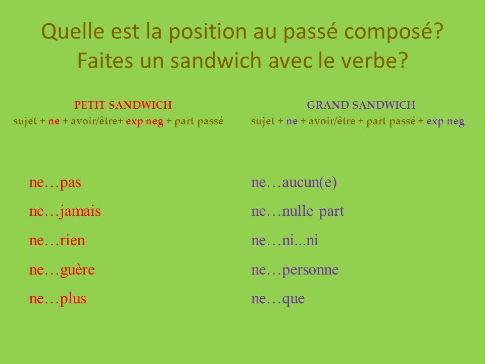 Quelle est la position au passé composé? Faites un sandwich avec le verbe? PETIT SANDWICH sujet + ne + avoir/être+ exp neg + part passé ne…pas ne…jama