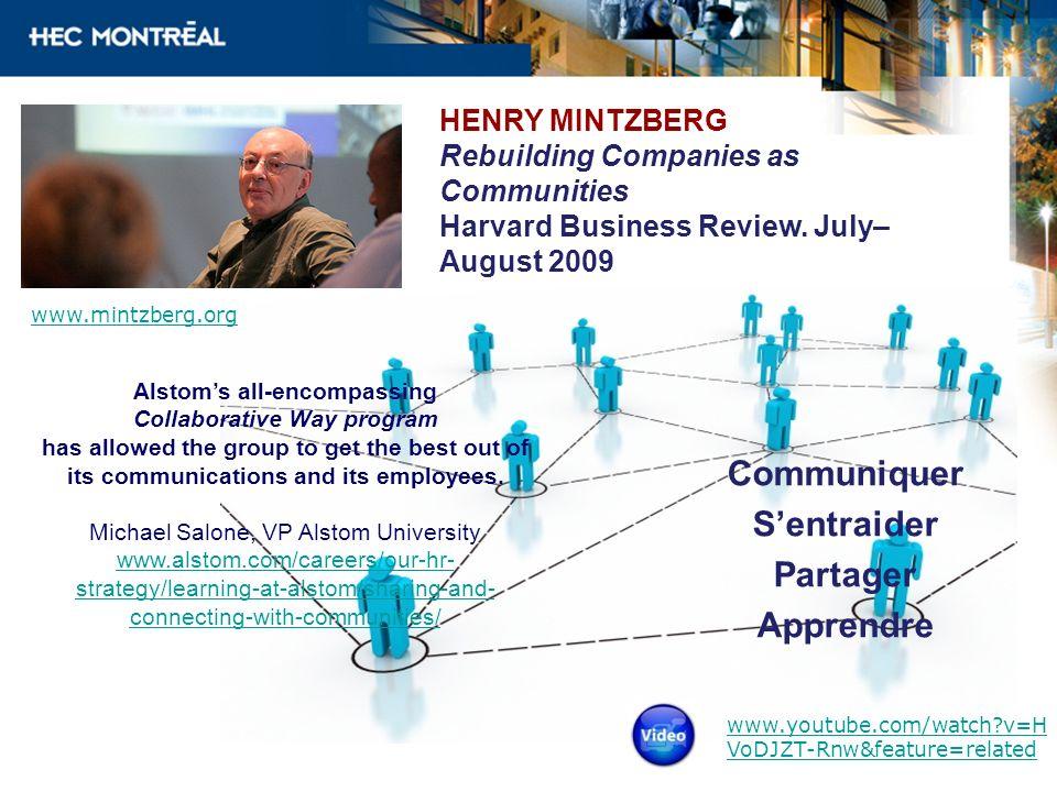 HENRY MINTZBERG Rebuilding Companies as Communities Harvard Business Review. July– August 2009 Communiquer Sentraider Partager Apprendre www.mintzberg