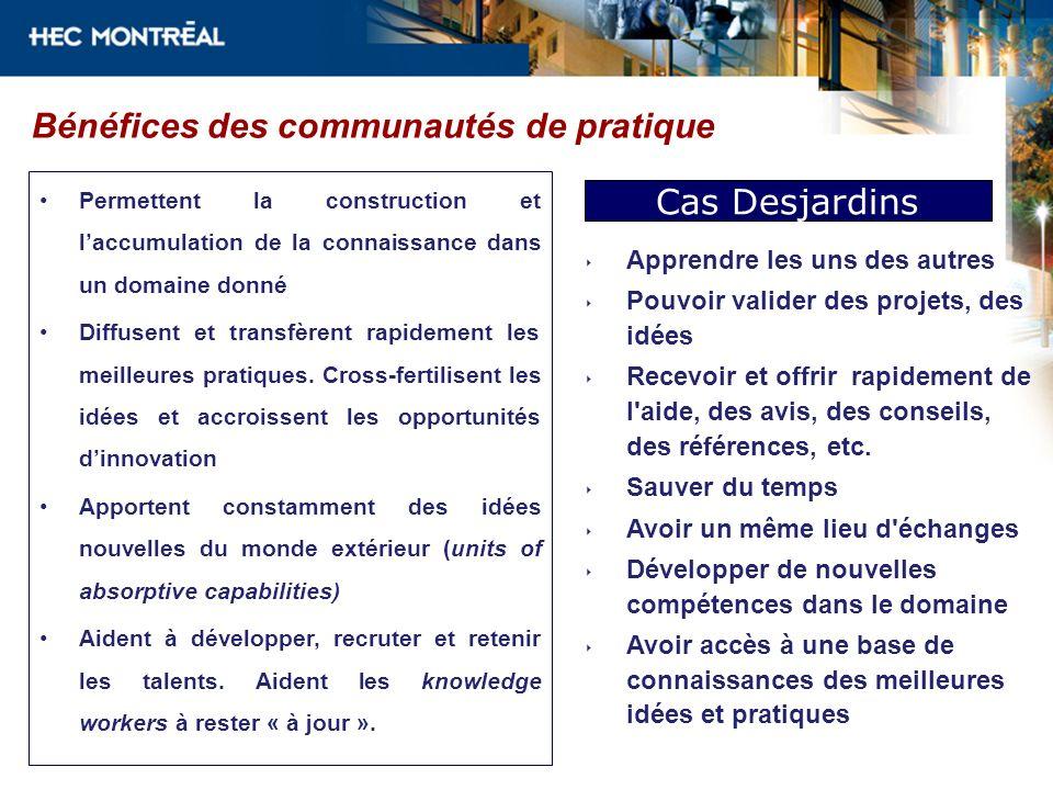 Bénéfices des communautés de pratique Permettent la construction et laccumulation de la connaissance dans un domaine donné Diffusent et transfèrent ra