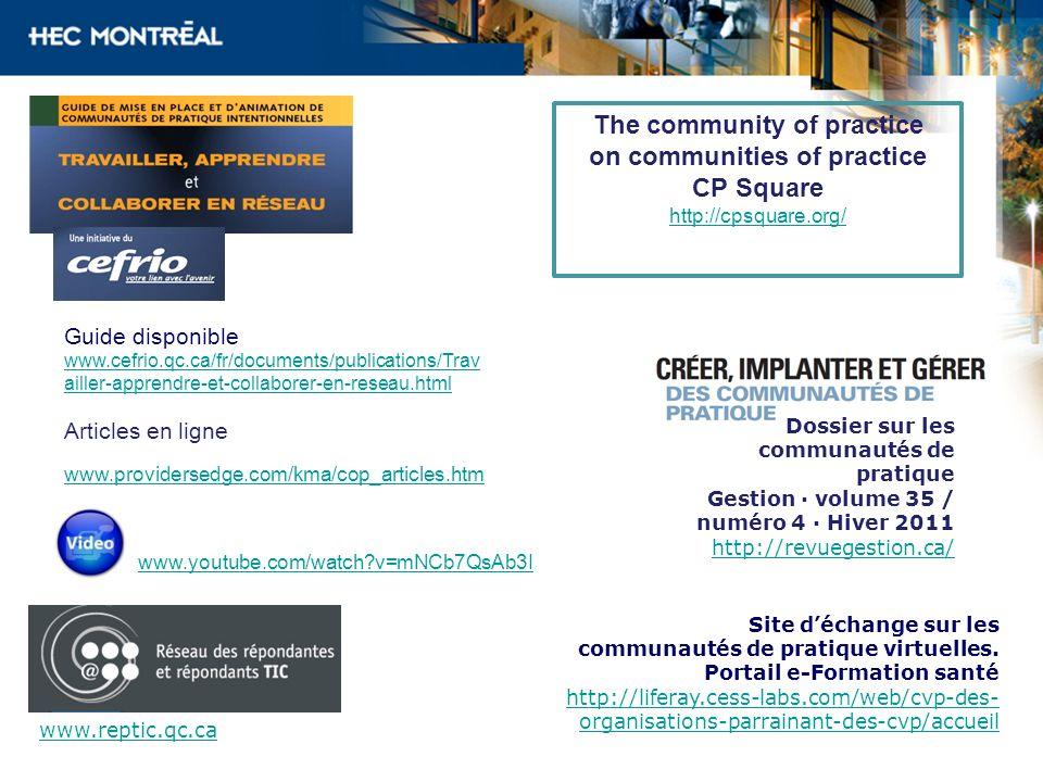 Guide disponible www.cefrio.qc.ca/fr/documents/publications/Trav ailler-apprendre-et-collaborer-en-reseau.html Articles en ligne The community of prac