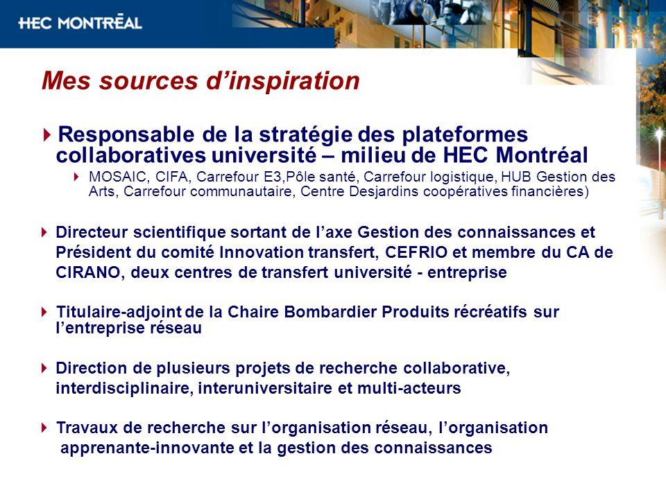Mes sources dinspiration Responsable de la stratégie des plateformes collaboratives université – milieu de HEC Montréal MOSAIC, CIFA, Carrefour E3,Pôl
