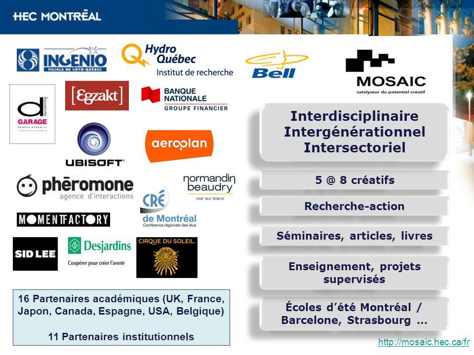 http://mosaic.hec.ca/fr 16 Partenaires académiques (UK, France, Japon, Canada, Espagne, USA, Belgique) 11 Partenaires institutionnels Écoles dété Mont