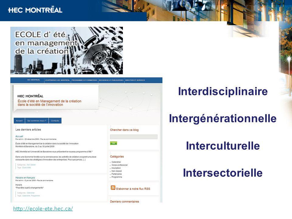 Interdisciplinaire Intergénérationnelle Interculturelle Intersectorielle http://ecole-ete.hec.ca/