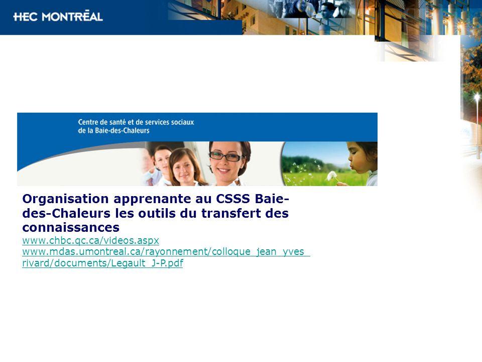 Organisation apprenante au CSSS Baie- des-Chaleurs les outils du transfert des connaissances www.chbc.qc.ca/videos.aspx www.mdas.umontreal.ca/rayonnem