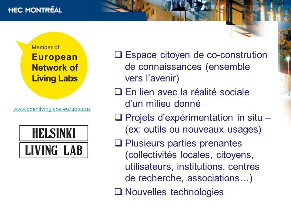 Espace citoyen de co-constrution de connaissances (ensemble vers lavenir) En lien avec la réalité sociale dun milieu donné Projets dexpérimentation in