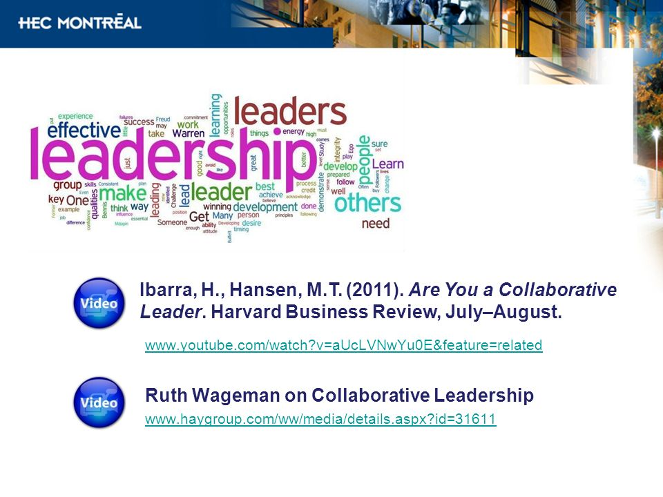 www.youtube.com/watch?v=aUcLVNwYu0E&feature=related Ruth Wageman on Collaborative Leadership www.haygroup.com/ww/media/details.aspx?id=31611 Ibarra, H
