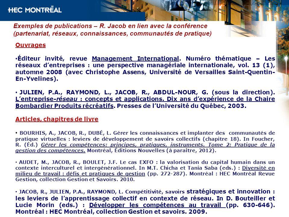Exemples de publications – R. Jacob en lien avec la conférence (partenariat, réseaux, connaissances, communautés de pratique) Ouvrages Éditeur invité,
