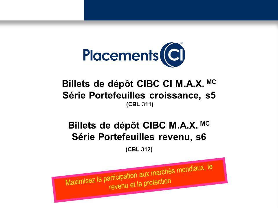 Billets de dépôt CIBC CI M.A.X. MC Série Portefeuilles croissance, s5 (CBL 311) Billets de dépôt CIBC M.A.X. MC Série Portefeuilles revenu, s6 (CBL 31