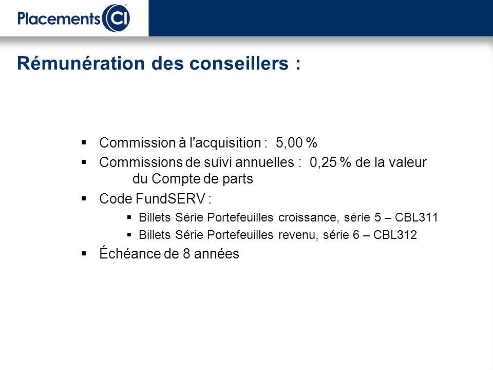 Commission à l'acquisition : 5,00 % Commissions de suivi annuelles : 0,25 % de la valeur du Compte de parts Code FundSERV : Billets Série Portefeuille