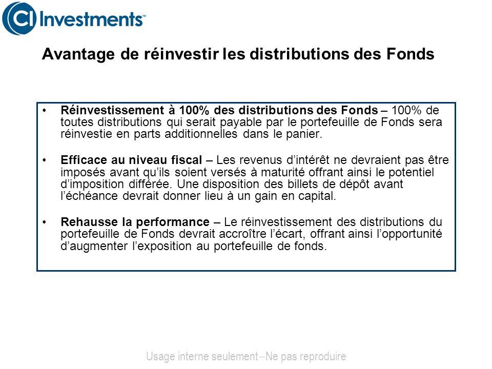 Réinvestissement à 100% des distributions des Fonds – 100% de toutes distributions qui serait payable par le portefeuille de Fonds sera réinvestie en